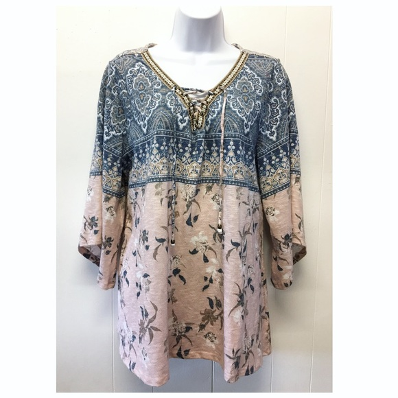 Style & Co Tops - Style & Co   Bohemian Bell Sleeved Lace Up Tunic